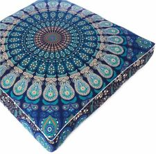 "Indian Blue Cotton Mandala Cushion Cover 35"" Floor Pillow Case Square Home Decor"