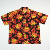 Hawaiian Tropic Large Black Red 100% Polyester Hawaiian Aloha Camp Tiki Shirt