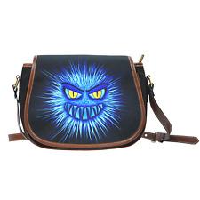 Blue Monster Shoulder Saddle Bag Cross Body Zipper Bag Purse Gift