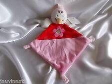 Doudou oiseau plat, rouge, rose, fleur, Kitchoun,  Nicotoy, Kiabi