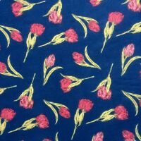 SOLD PER METRE New Polycotton Fabric PINK FLORAL TULIP FLOWERS  Material CRAFTS