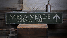 Mesa Verde National Park, Custom Arrow - Rustic Distressed Wood Sign
