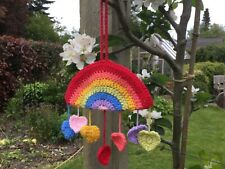 HANDMADE CROCHET RAINBOW WINDOW HANGING WITH HEARTS SUPPORT FOR NHS & CHARITY
