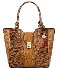 ❤BRAHMIN DIANA TOTE +CHECKBOOK WALLET TOASTED ALMOND TAN RUM BROWN CROC LEATHER❤
