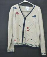 Christopher & Bank Women's Medium Hand Embroidered Golf Full Zip Sweater
