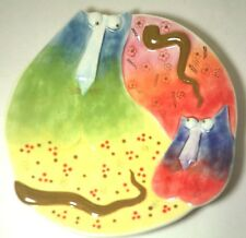 Joy Cats Studio Designworks Handpainted Cat Plate New Two Cats Sculpted Design