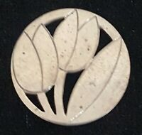 Silver plate vintage Art Deco antique round tulip brooch