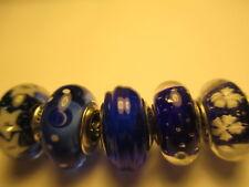 5 Authentic Pandora Silver 925 Ale Blue Star Snowflake Ribbon Bubble Beads Charm