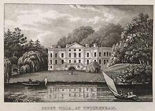 1820 Antique Aquatint Print; Pope's Villa, Twickenham, London