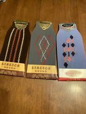 3 pr Vtg Deadstock  Stretch Socks sz 9 1/2 To 13 USA made Great Vintage Designs!