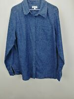 Denim & Co. Stretch Denim Animal Print Button Front Shirt Dark Indigo L A257418