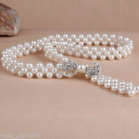 Fashion Women Silver Pearl Beads Chain Waistband Bowknot Crystal Rhinestone Belt