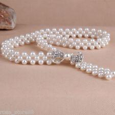 Fashion Women Silver Pearl Beads Chain Waistband Bowknot Crystal Rhinestone Belt