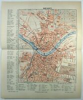 Original 1889 City Map of Dresden Germany by Meyers. Antique