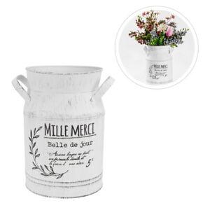Flower Pitcher Vase Vintage Farmhouse White Metal Jug Rustic Tall Home Decor