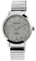 Akzent Herrenuhr Grau Silber Analog Datum Metall Zugband Armbanduhr X2700012004