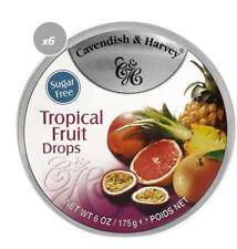 913002 6 x 175g CAVENDISH & HARVEY TROPICAL FRUIT DROPS SUGAR GLUTEN FREE LOLLY