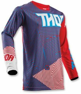 Thor Pulse Geotec Red Blue MX Enduro Motocross Offroad Race Jersey Adults