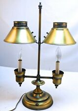 Vintage French Bouillotte Style Electric Brass Double Candle Lamp Student 3-way