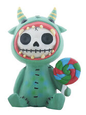 Furrybones Mogu Skeleton in Green Monster Costume Holding Lollipop Figurine