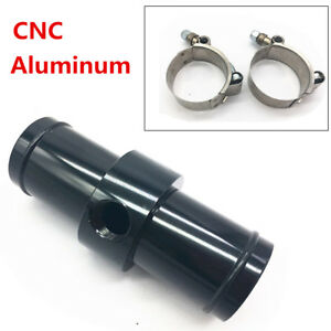 CNC Aluminum Black Inline Radiator Hose Temperature Sensor Adapter Kit 3/8 NPT