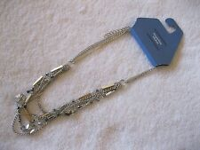 Simply Vera Wang Statement Silver Gold Smoke Stone Multi Chain Necklace MSP $34