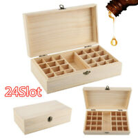 24 Slots Essential Oil Storage Box Wooden Display Case Container Aromatherapy US