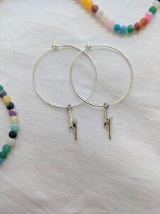Lightning Hoop earrings Silver lightning bolt hoop Statement Jewellery FREE POST
