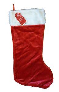 Christmas Large Stocking Plush Fluffy Santa Red Stocking Traditional Christmas