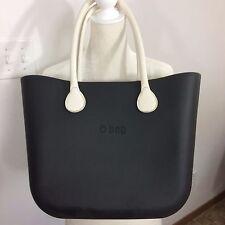 NWOT Chic O Bag Black Italian EVA Rubber Classic Size Long Ivory Leather Handle