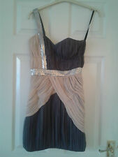 Womens One Shoulder Dress - Lipsy V.I.P. London - Grey/Pink - VIP BNWT £150 RRP