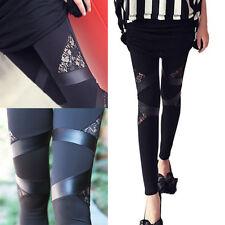 Mujer Punky Gótico Ajustado Slim Piel Sintética Leggings corte Leggings Encaje
