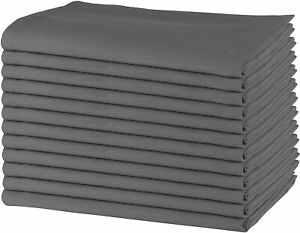 GREY COLOR,  Cotton Rich Table Napkins Size 45X45CM, Pack of 6, Hemmed
