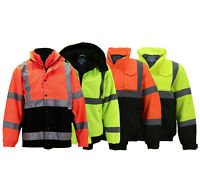 Men's Hi-Vis Insulated Neon Reflective Weather Resistant Road Work Bomber Jacket