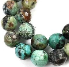 """8mm Natural African Jasper Turquoise Faceted Round Beads 15.5"""""""