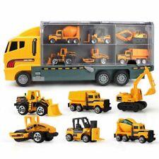 Camion Bisarca con 6 Veicoli Lavoro Giocattolo Bambini con Muletto Gru Bulldozer
