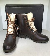 SOREL Phoenix Short Lace Cozy Women's Sz 10 Burro Brown Leather Boots X6-1035