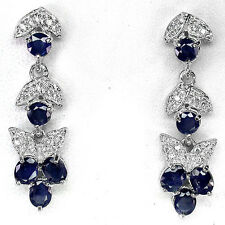 """31 CTS!! LUXE!! NATURAL RICH DEEP BLUE SAPPHIRE DANGLE 925 EARRINGS 1 1/2"""""""
