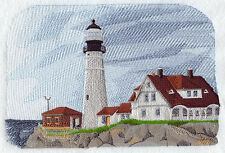 St Simons Island LightHOUSE EMBROIDERED SET OF 2 BATHROOM TOWELS BY LAURA