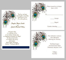 100 Personalized Custom Peacock Feathers Blue Green Wedding Invitations Set