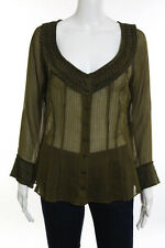 Strenesse Gabrielle Strehle Green Striped Cotton Ruffle Detail Blouse Size 12