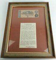 Framed Antique 1864 Confederate $5 Note W/ Provenance 21st NC Regiment