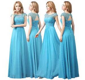 Chiffon Lace Cap Sleeves long Maxi Bridesmaid,Prom, Evening Corse back Dress -UK
