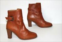A.P.C Bottines Boots à Talons Cuir Fauve Doublées Cuir T 37 TBE