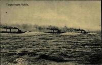 Schiffe Kaiserliche Marine ~1910 War Ships Torpedoboot Flottille Ship Photo