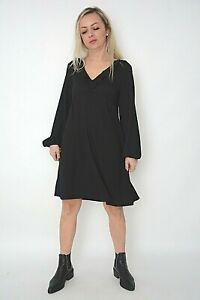 New Womens Ex Wallis Black Puff Sleeve Frill Neck Smock Dress Size Tall 10-12