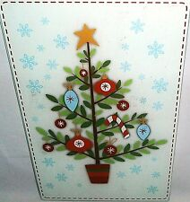 "Glass Cutting Board 11 3/4"" X 7 3/4""  CHRISTMAS TREE WITH ORNAMENTS"