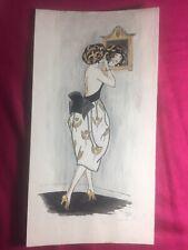 AQUARELLE SUR PAPIER SIGNÉE F DE ROQUETAILLADE Datée Années 1921 Elégante