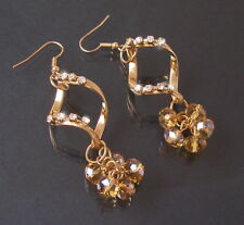 Ohrringe Gold Ohrhänger 7,5cm Perlen Strass klar Schmuck Damen Hochzeit O2224