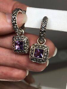 A by JH John Hardy 925 Sterling Silver Hoop Earrings With Dangling Amethyst